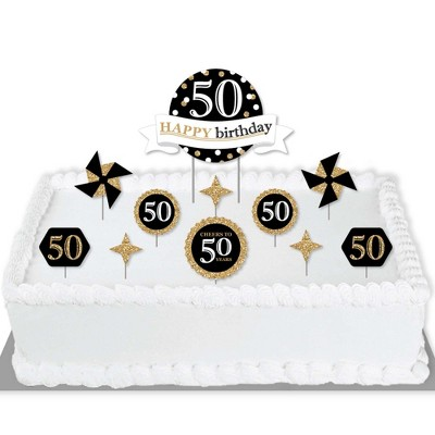 Big Dot of Happiness Adult 50th Birthday - Gold - Birthday Party Cake Decorating Kit - Happy Birthday Cake Topper Set - 11 Pieces