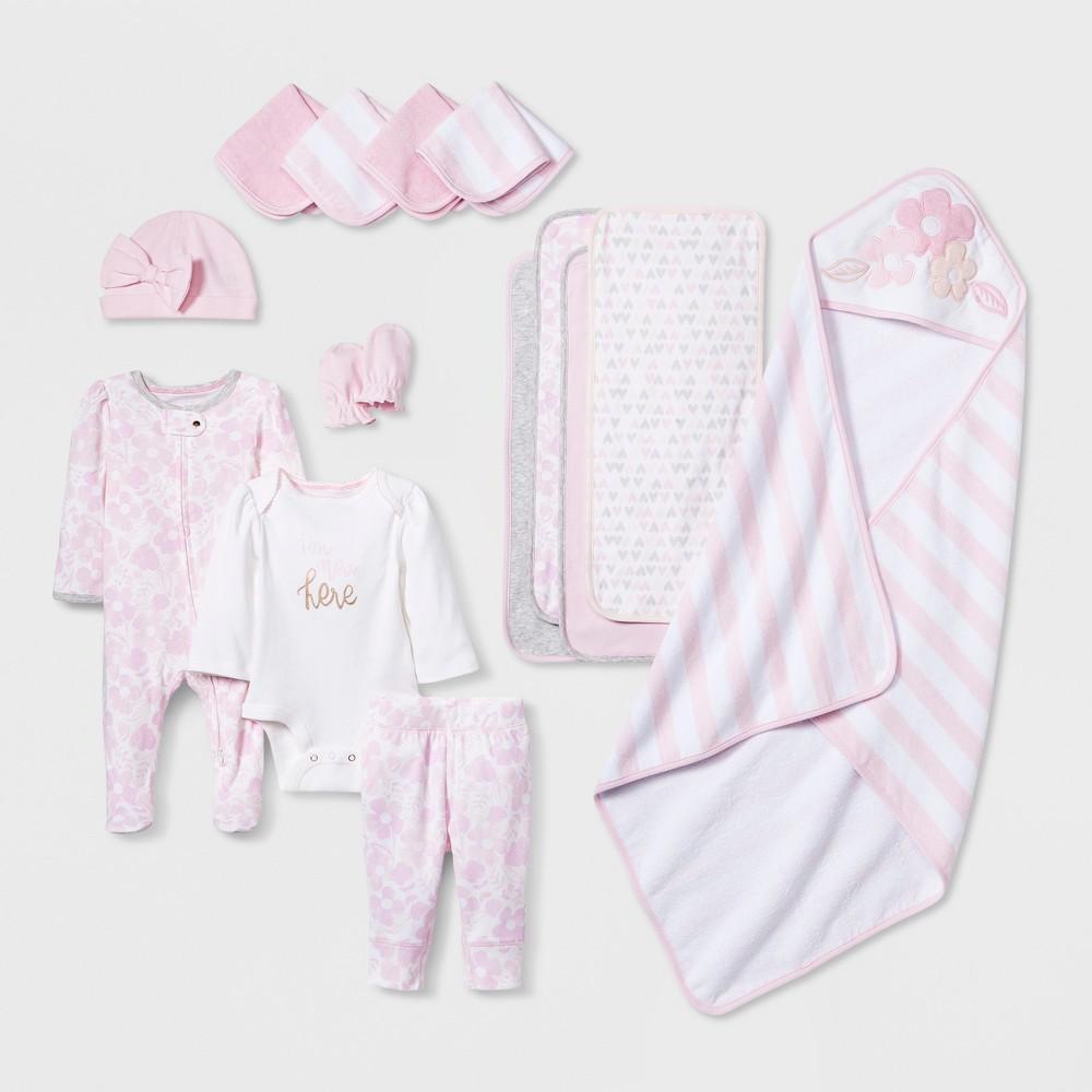 Baby Girls' 15pc Take Me Home Layette & Bath Set - Cloud Island Pink 0-3M