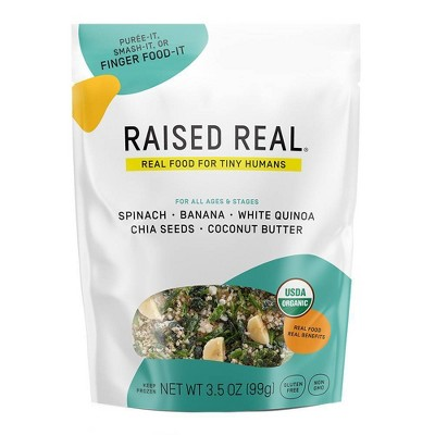 Raised Real Organic Spinach + Banana Frozen Baby and Toddler Food - 3.5oz