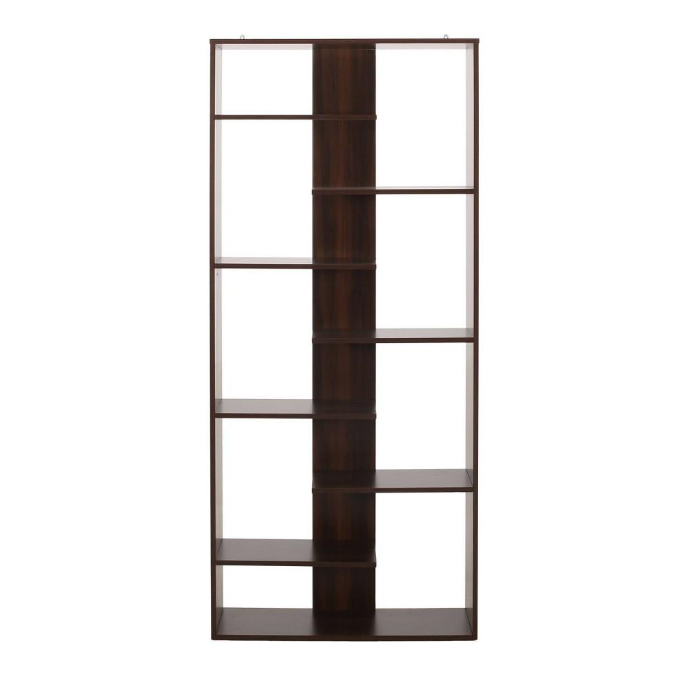 71 34 Sparks Modern Geometric Etagere Bookcase Dark Walnut Christopher Knight Home