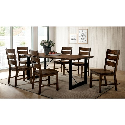 Iohomes Kopec Industrial Style Dining Table 7pc Set Walnut Homes