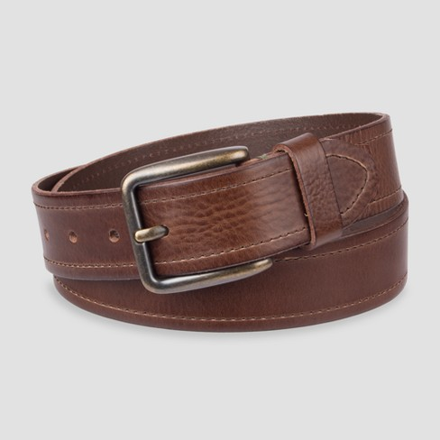 Men's 38mm Belt With Tab Detail Belt - Goodfellow & Co™ Brown - image 1 of 1