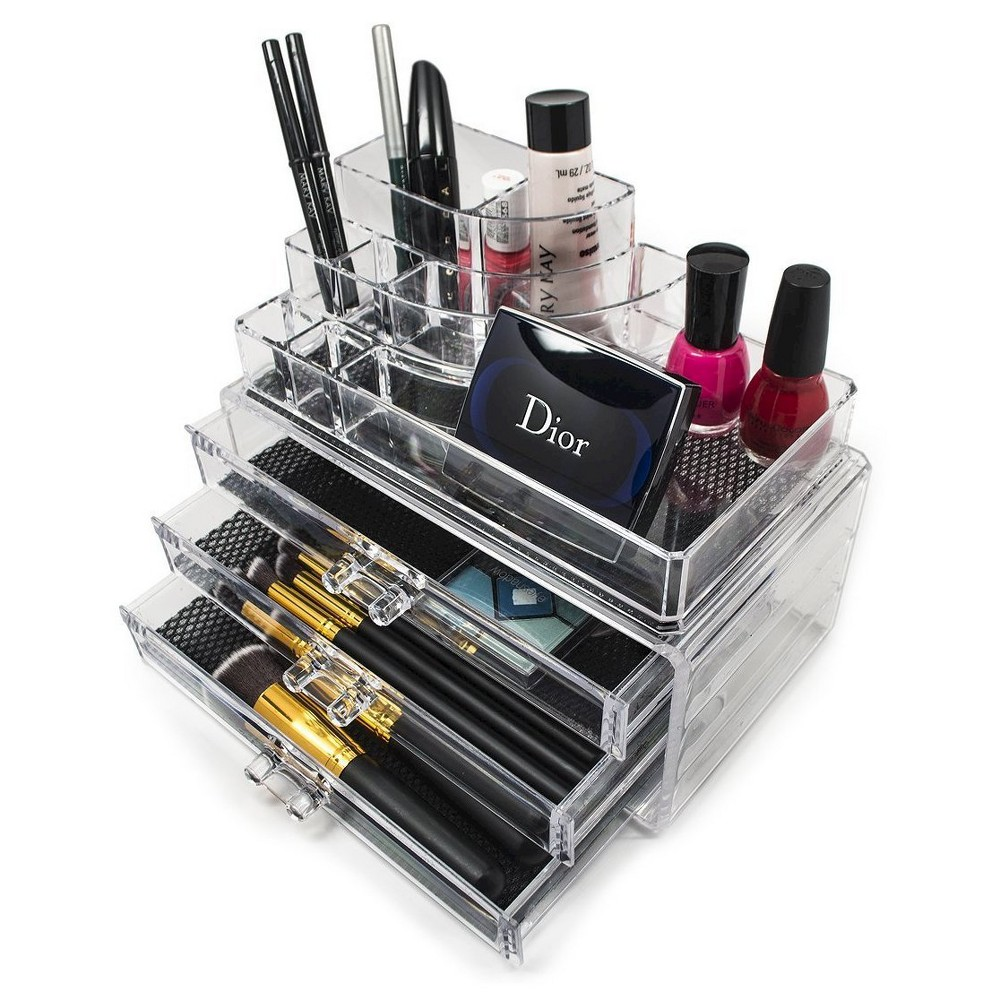 Sorbus Stackable Makeup Storage Display - Round Top Storage with 4 Large Drawers
