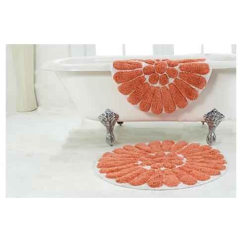Bursting Flower 2 Pc Round Bath Rug Set Living Coral White