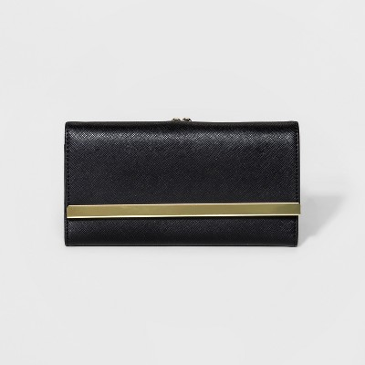 Tri-Fold Wallet with Kisslock Coin Purse - A New Day™ Black