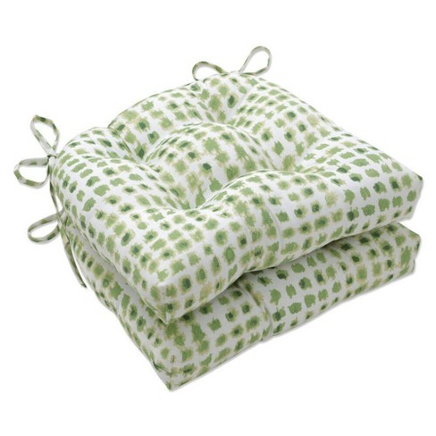 """2pc 15.5"""" x 14.5"""" Indoor Reversible Chair Pad Set Alauda Grasshopper Green - Pillow Perfect - image 1 of 1"""
