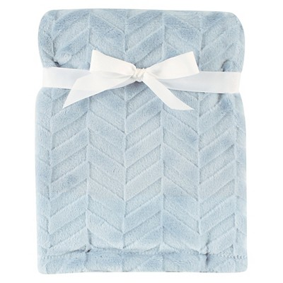 Hudson Baby Burnout Plush Blanket - Blue Herringbone