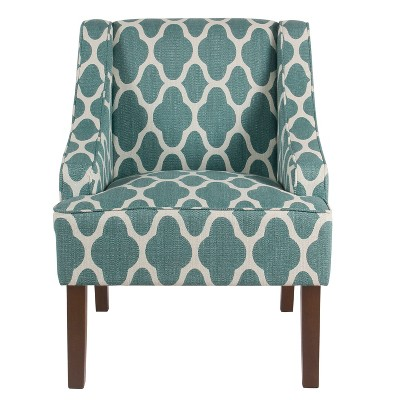 Homepop Classic Swoop Arm Chair Teal Geometric