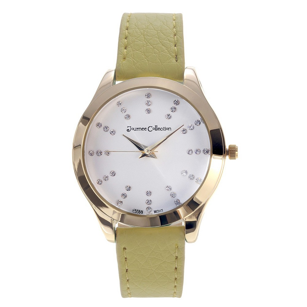 Women's Journee Collection Wristwatch with Nylon/Leather Strap - Yellow