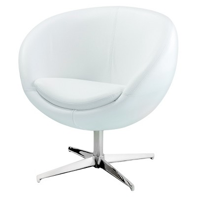 Modern Leather Roundback Chair White - Christopher Knight Home