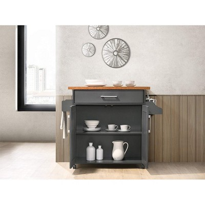 Hodedah Wheeled Kitchen Island Cart With Spice Rack And Towel Holder, Gray/Oak : Target