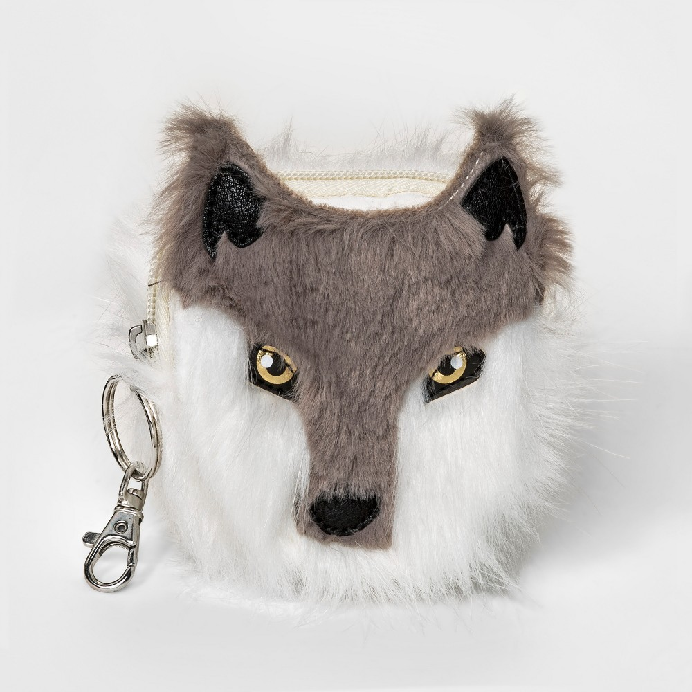 Boys' Wolf Keychain Coin Purse - Cat & Jack Gray, Size: Small