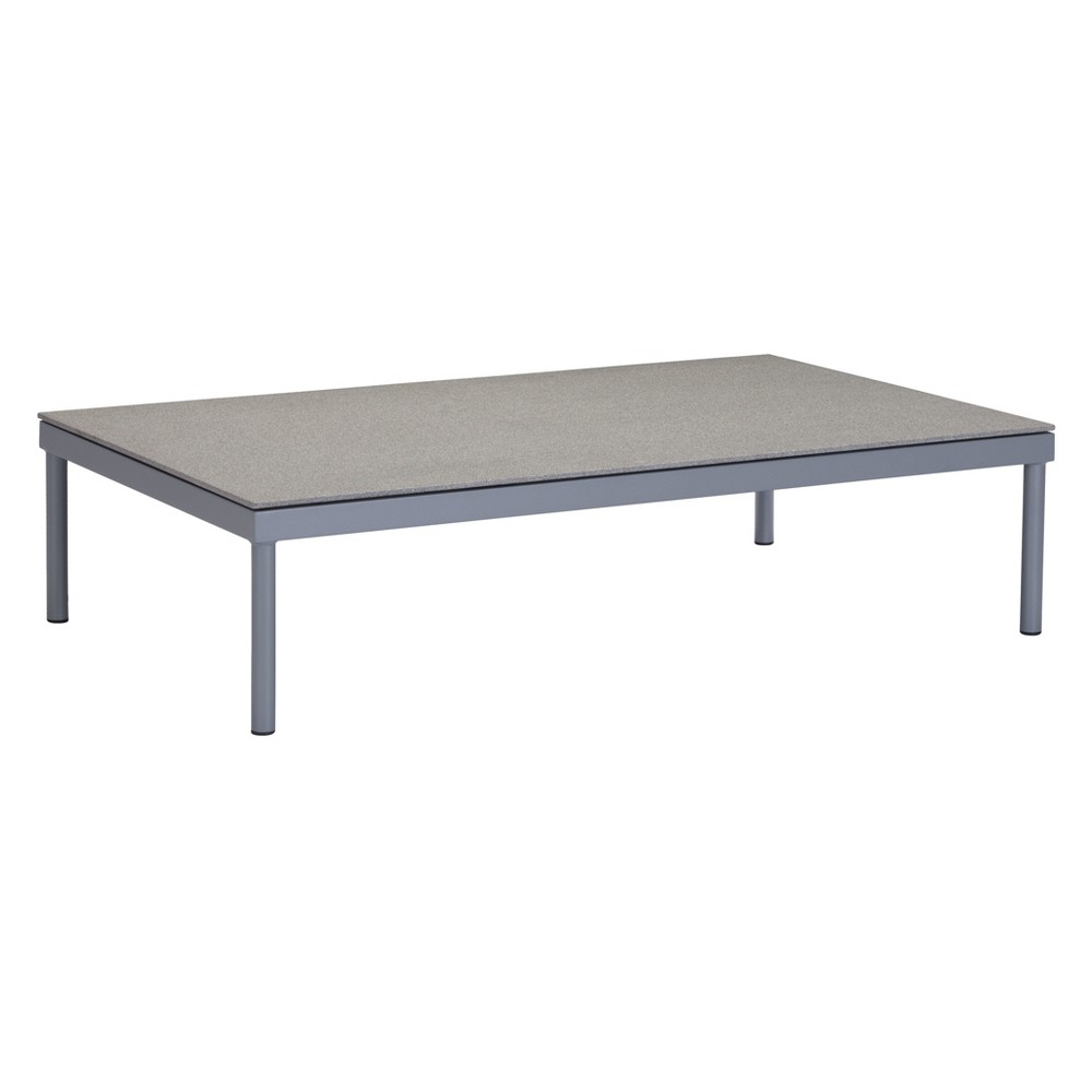 "Image of ""47"""" Modern Granite Finished Tempered Glass Coffee Table Gray - ZM Home"""