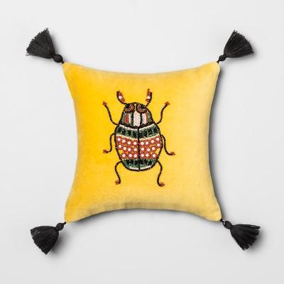 Beaded Bug Mini Square Throw Pillow Yellow - Opalhouse™