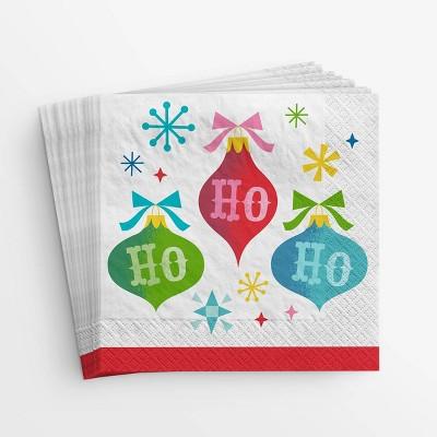 20ct Ho Ho Ho Ornament Lunch Disposable Napkin - Wondershop™