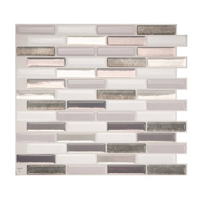 "Smart Tiles 3D Peel and Stick Backsplash 4 Sheets of 10.20"" x 9"" Kitchen and Bathroom Wallpaper Milenza Bigio"