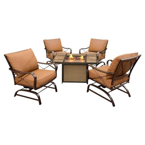 Bradford 5pc Metal Patio Conversation Set with Fire Pit Table - Dessert Brown - Hanover - image 1 of 6