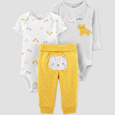 Baby Girls' Cat Top & Bottom Set - Just One You® made by carter's Yellow Newborn