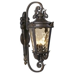 "John Timberland Outdoor Wall Light Fixture Bronze Scroll 27 1/2"" Hammered Glass for House Patio Porch"