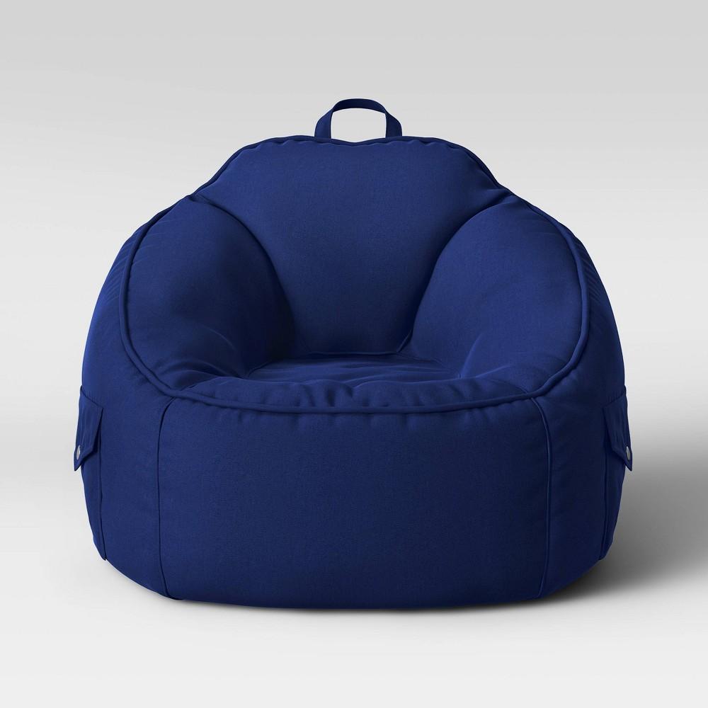 Superb Canvas Bean Bag Chair Navy Blue Pillowfort Beatyapartments Chair Design Images Beatyapartmentscom