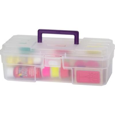 """Akro-Mils Supply Box 6""""x12""""x4"""" Plastic Clear/Purple 09912CLPUR"""