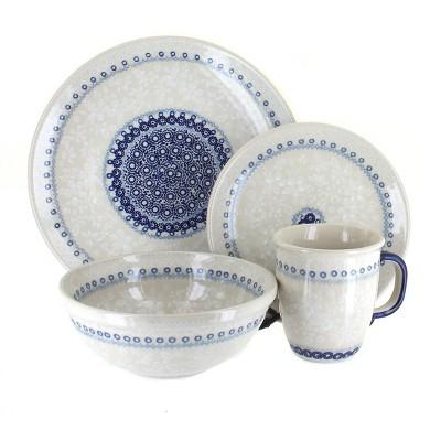 Blue Rose Polish Pottery Victoria 16 Piece Dinnerware Set