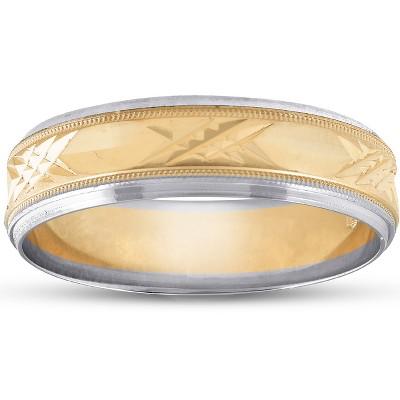 Pompeii3 Mens 14k Gold Two Tone Swiss Cut Wedding Ring Band New