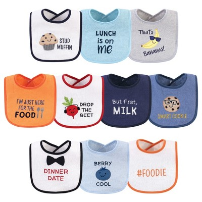 Hudson Baby Infant Boy Cotton Terry Drooler Bibs with Fiber Filling 10pk, Boy Muffin, One Size
