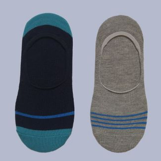 Mens Striped 2pk Liner Socks - Goodfellow & Co™ Blue 7-12
