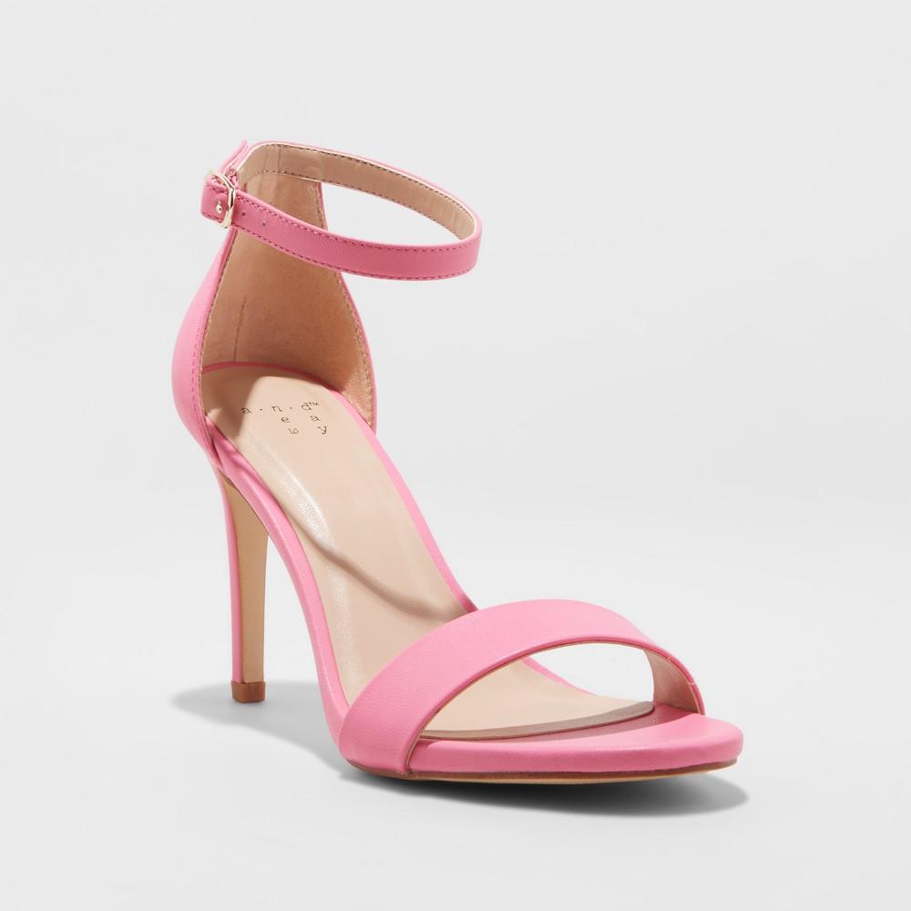 Women's Myla Wide Width Stiletto Heeled Pump Sandal - A New Day Pink 6.5W, Size: 6.5 Wide