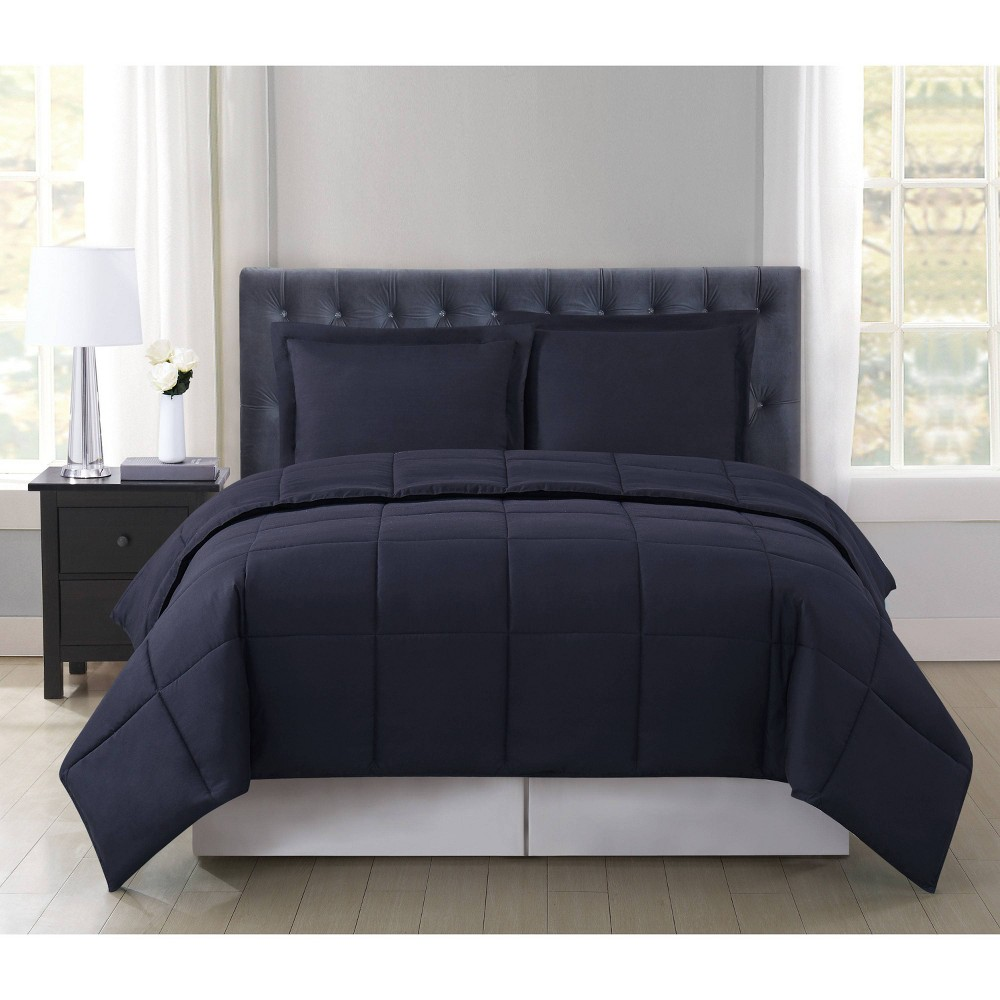 Truly Soft Everyday Full Queen Reversible Comforter Set Black