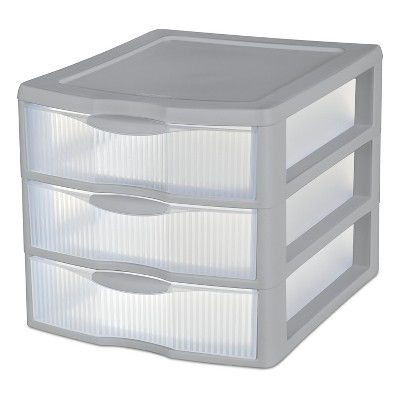 3 Drawer Storage Unit Gray - Sterilite