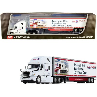 """2018 Freightliner Cascadia w/ 53' Utility Trailer with Side Skirts """"Load One, LLC."""" 1/64 Diecast Model by DCP/First Gear"""