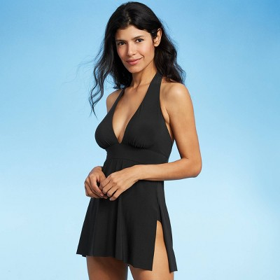 Women's Halter Swim Dress - Aqua Green® Black