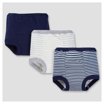 Toddler Boys' 3pk Print Training Pants - Navy Stripe/Solid 2T - Gerber®
