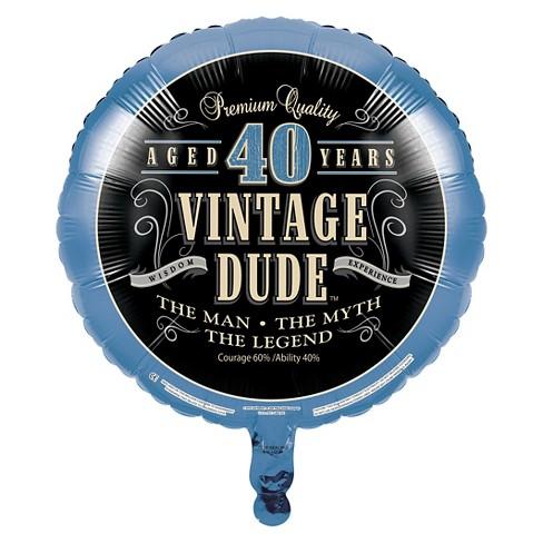 Vintage Dude 40th Birthday Mylar Balloon Target