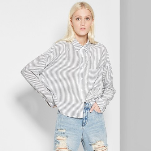 61c7a7c6 Women's Striped Long Sleeve Cropped Button-Down Shirt - Wild Fable™ Gray :  Target