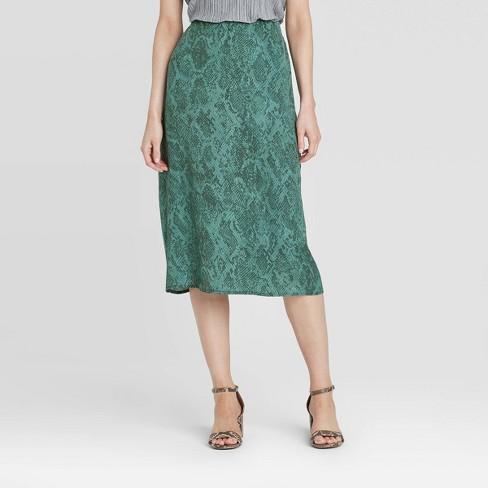 Women's Animal Print Mid-Rise Satin Slip Skirt - A New Day™ Teal - image 1 of 3