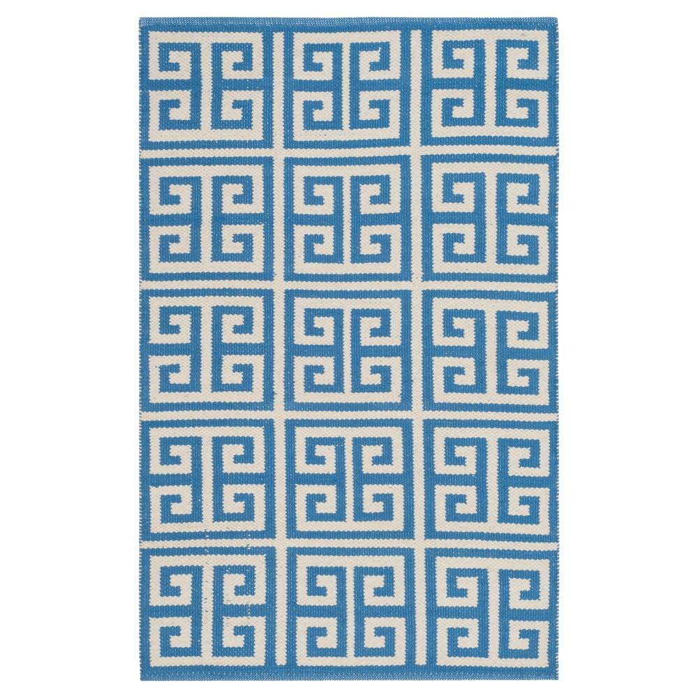 Blue/Ivory Geometric Woven Accent Rug 3'X5' - Safavieh