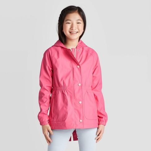 Girls' Solid Rain Coat - Cat & Jack™ Pink - image 1 of 3