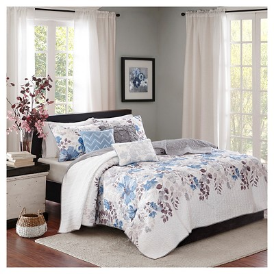 Willow Watercolor Floral Quilted Coverlet Set (King/California King)Blue - 6pc