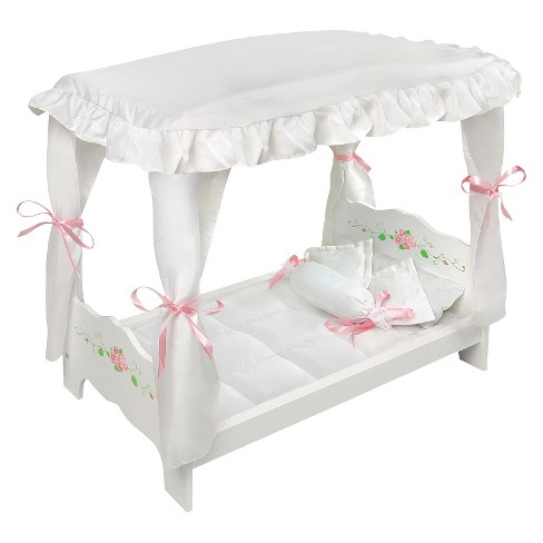 Badger Basket White Rose Doll Canopy Bed - image 1 of 3