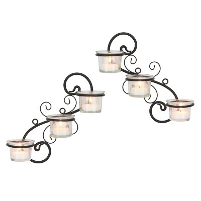 Decorative Tea Light Candle Holder Wall Sconce Set - Stonebriar Collection