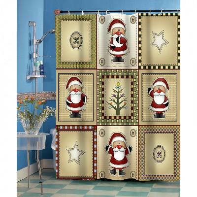 GoodGram Americana Country Christmas Santa Fabric Shower Curtain -