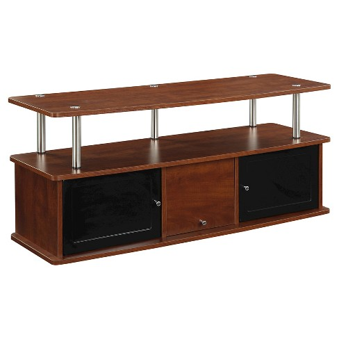 TV Stand with 3 Cabinets - Cherry - Convenience Concepts - image 1 of 3