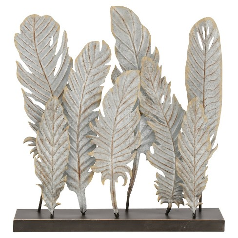 "Natural Reflections Rustic Iron Feather Table Sculpture (20""x21"") - Olivia & May - image 1 of 1"