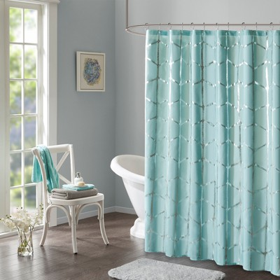 Shower Curtain Geometric Aqua