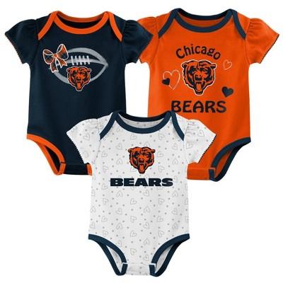 NFL Chicago Bears Girls' Newest Fan 3pk Bodysuit Set