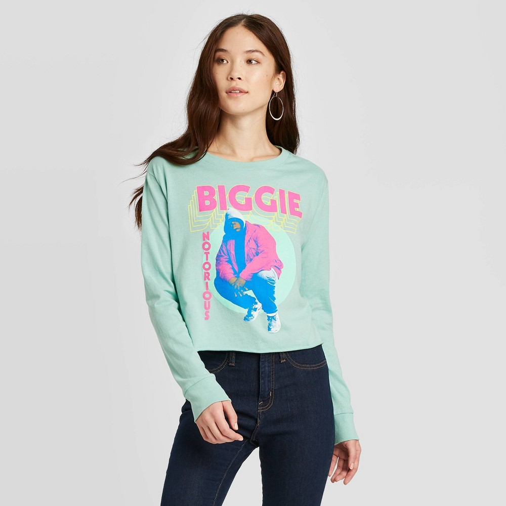Image of Women's Biggie Long Sleeve Cropped Graphic T-Shirt (Juniors') - Jade Green L, Women's, Size: Large