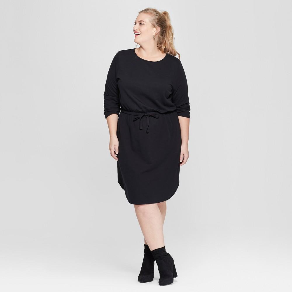 Women's Plus Size Tie Waist Knit Dress - Ava & Viv Black X